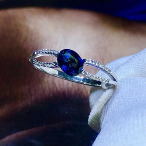 820 Blue Sapphire Ring 0.55ct Real Pure 18 K Natural Blue Sapphire Gemstone 18 k Gold Diamonds Stone Female Ring