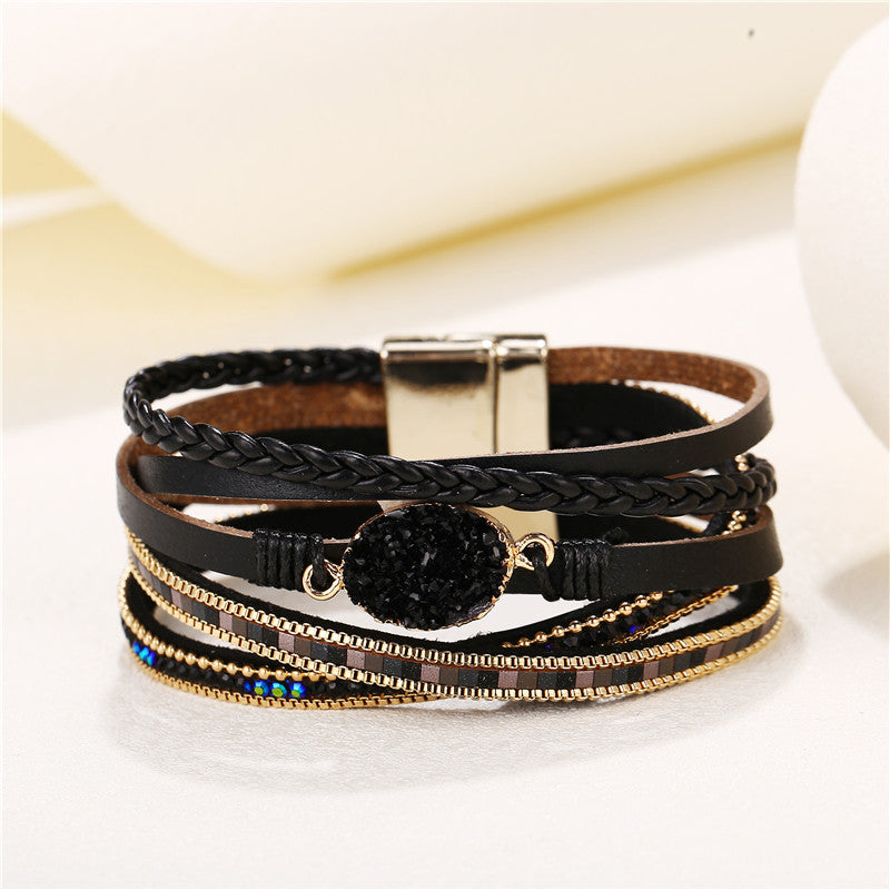 17KM Vintage Handmade Multilayer Black Leather Bracelet For Man Women Fashion Mosaic Crystal Bangle Party Jewelry Dropshipping