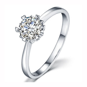 Round Brilliant Cut 14K White Gold Snowflake style Moissanite Ring 1ct 2ct 3ct Lab Diamond Engagement Anniversary Ring Female
