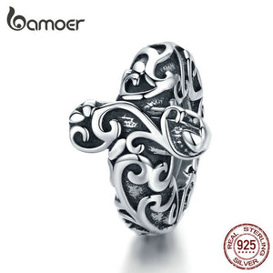 bamoer Vintage European Patterns Cross Stopper Bead for 3mm Silver Snake Bracelet Charms Silver 925 Charm  with Silicone SCC1326