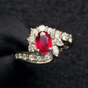 Fine Jewelry Pure 18 K Gold Jewelry Natural Red Ruby 0.59ct Diamond Wedding Engagement Female Rings for Women Fine Ring