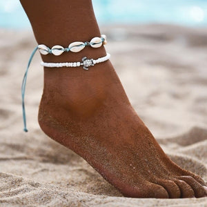 2Pcs Turtle Shell Charm Beaded Anklets Women Ankle Foot Bracelet Sandal Jewelry hot