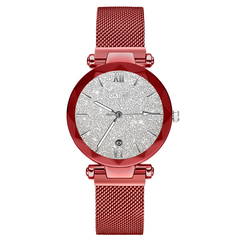 Starry Round Dial Wrist Watch with Magnetic Strap