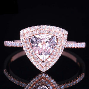 14K Rose Gold Genuine Morganite Ring