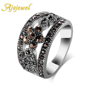Flower Design Black Marcasite Band Ring