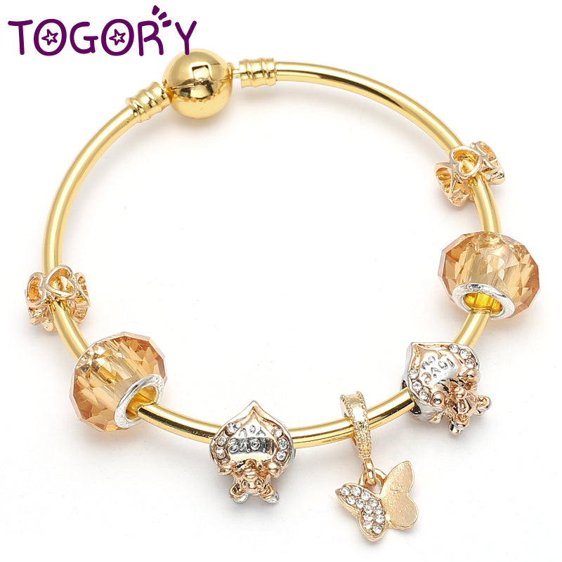 TOGORY Golden Charm Bangle & Braceelet For Women with Butterfly Animal & Open Your Heart Brand Bracelet Friendship Jewelry