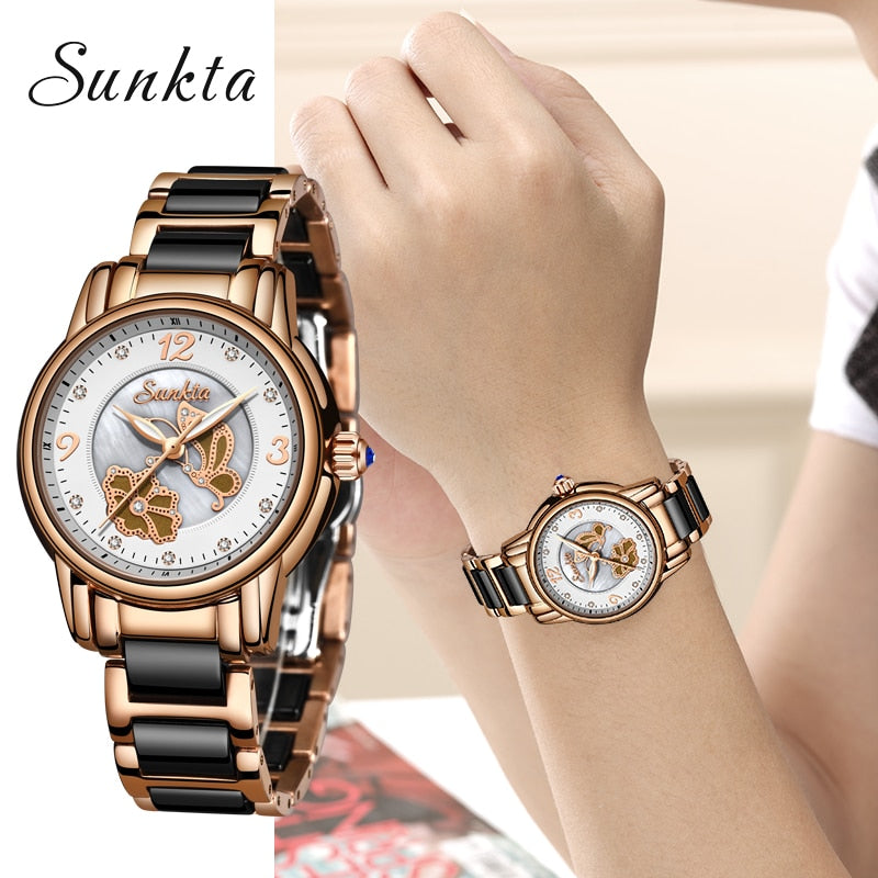 SUNKTA Brand Luxury Women Watches Waterproof Fashion Ladys Watch for Woman Ladies Wrist Watch Relogio Feminino Montre Femme