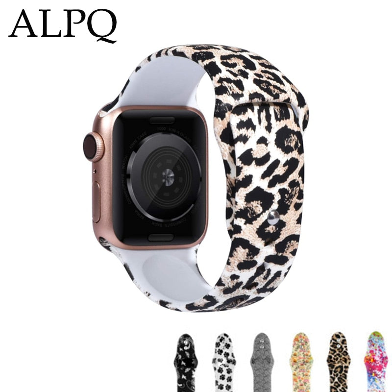 ALPQ For Apple Watch 5 4 Band Strap 38 42mm 40mm 44mm Soft Silicone Leopard Floral Pattern Printed Strap For iWatch Series 3 2 1