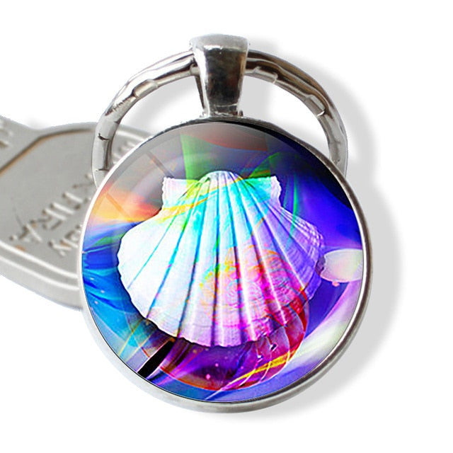 Marine Life Jewelry Sea Turtle Dolphin Seashells Keyring Key Ring Glass ball  Keychain Metal Pendant  Accessories Souvenir Gift