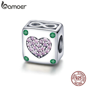 BAMOER Authentic 925 Sterling Silver Infinity Love in Square Heart Charms Beads fit Original Bracelets DIY Jewelry Gift SCC900