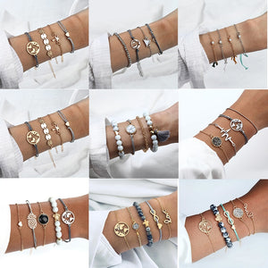 Bohemian Turtle Marble Stone Beads Bracelet Multilayer Adjustable Open Bracelet Set For Women Fashion Vintage Tassel Bracelet