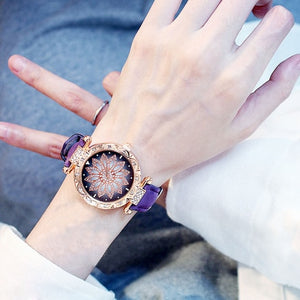 2019 Women Watches Set Starry Sky Ladies Bracelet Watch Casual Leather Sports Quartz Wristwatch Clock Relogio Feminino