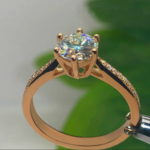 14K Rose Gold Moissanite Ring 1ct 2ct 3ct Classic six claw style round brilliant cut Anniversary Ring with certificate