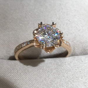 14K Rose Gold Moissanite Ring 1ct 2ct 3ct Snowflake style round brilliant cut Anniversary Ring with a moissanite certificate