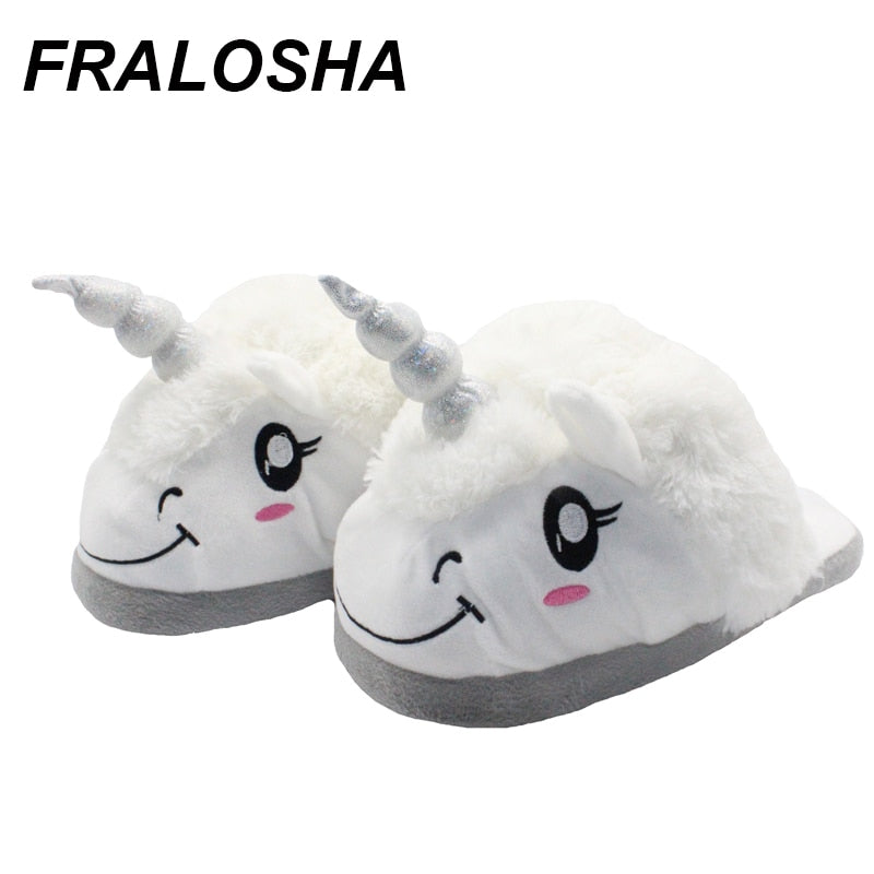Fralosha New  Winter Indoor Slippers Plush Home Shoes Unicorn Slippers for Grown Cartoon Fur Unisex Indoor Chausson Licorne