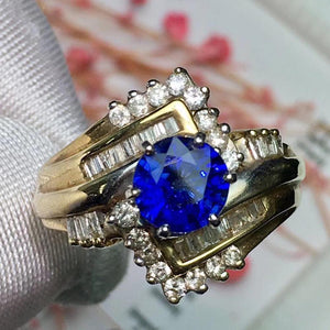 Fine Jewelry 14K Gold 100% Natural Royal Blue Sapphire 1.3ct Gemstones Sapphire Diamonds Female Wedding Rings