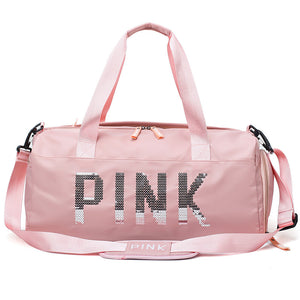 2019 Newest Design Sequins PINK Letters Gym Fitness Sports Bag Shoulder Crossbody Bag Women Men Tote Handbag Travel Duffel Bolsa