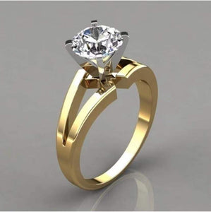 custom order of 18k Yellow Gold And White Gold 1.0ct Round cut Moissanite Ring