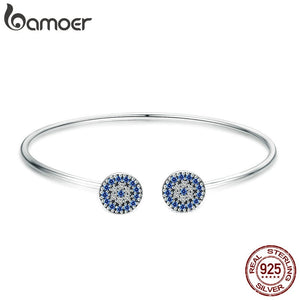BAMOER 2018 New 100% 925 Sterling Silver Lucky Blue Eyes Blue CZ Women Open Cuff Bangle & Bracelet Luxury Silver Jewelry SCB058