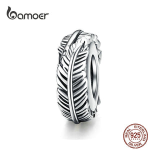 11.11 Sales Bohemia Feather Spacer Stopper with Silicone 925 Sterling Silver Vintage Beads for Women Bracelet SCC1236