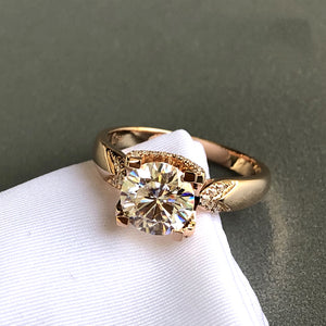 Pure 18K Rose Gold Moissanite Ring 1ct 2ct 3ct luxurious design 4 claws Ring VVS1 Wedding jewelry Anniversary Ring round cut