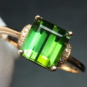 Fine Jewelry Real Pure 18 K Gold Jewelry 100% Natural Green Tourmaline Gemstones 2.45ct Diamonds Male's Wedding Fine Man's Rings