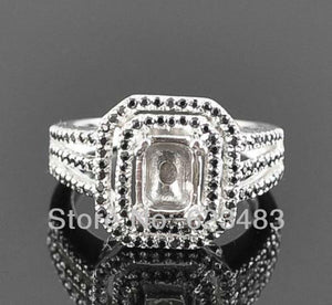 Emerald cut 6x8mm 14K White Gold   Semi-Mount Ring