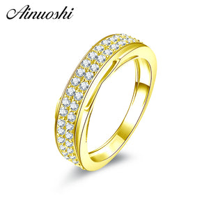 AINUOSHI 14K Solid Yellow Gold Half Eternity Band Classic 2 Rows Drill CZ Matching Band Wedding Engagement Jewelry for Women Men