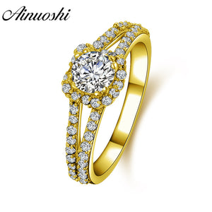 AINUOSHI 14K Solid Gold Square Halo Ring Double Layer Band Micro Setting Round Lab Grown Diamond Women Wedding Engagement Ring