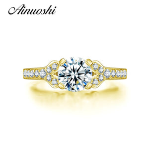 AINUOSHI 4 Claws 1 Carat Round Ring 14K Solid Yellow Gold Pave Setting SONA Simulated Diamond Wedding Engagement Ring for Women