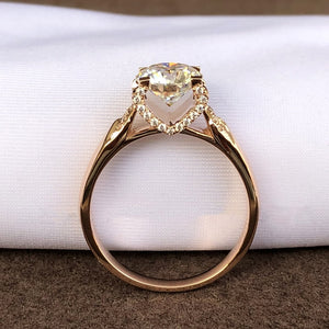 Trendy 14K Rose Gold 4 claw Moissanite Ring VVS1 Round Cut 1ct 2ct 3ct Engagement wedding Anniversary Ring Custom Made