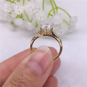 14K Rose Gold Moissanite Diamond jewelry Ring 1ct 2ct 3ct Trendy Wedding Party Engagemen Anniversary Ring Smooth setting