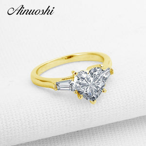 AINUOSHI 14K Heart 3 Stone Ring Real 14K Solid Yellow Gold Emerald Cut SONA Simulated Diamond Wedding Engagement Ring for Women