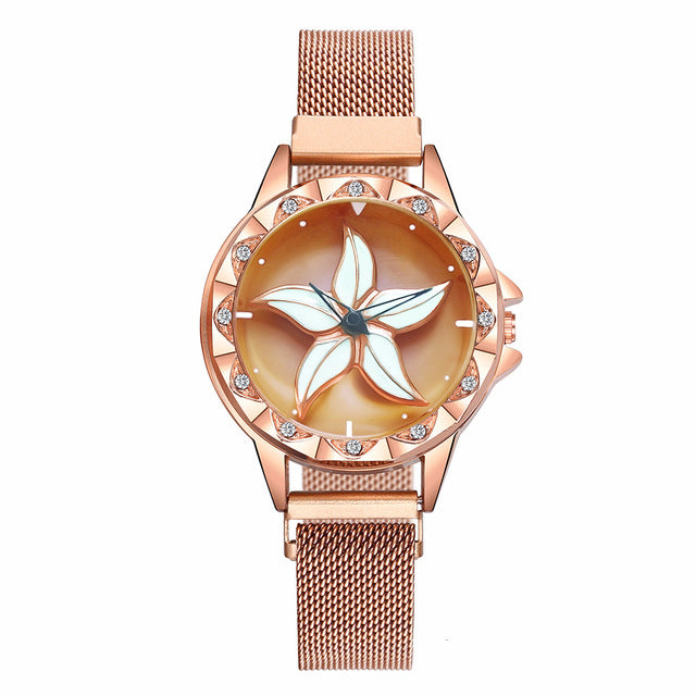 Hot Sale Women Magnet Buckle Rotating Flower Watch Luxury Ladies Stainless Steel Quartz Watch Clock Relogio Feminino