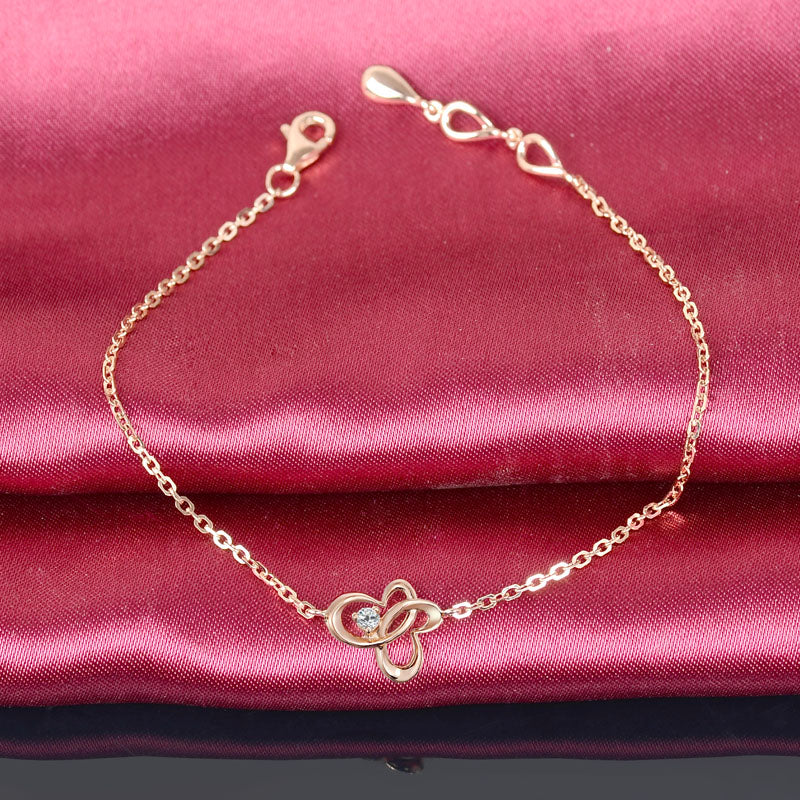 0.03ct Diamond Bracelet 18K Rose Gold Butterfly Charm Bracelet Wedding Engagement Girl Party Jewelry for Women