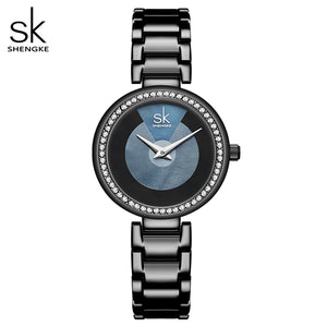 Shengke Fashion Quartz Watch Diamond Dial Ladies Watch Classical Women Wristwatch Japan Movement Watch Drop Shipping