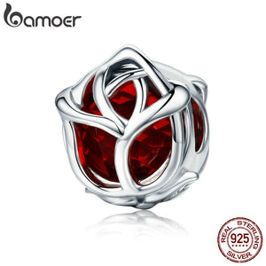 BAMOER Romantic 100% 925 Sterling Silver Rose Flower, Red Crystal Charm Beads fit Women Charm Bracelet DIY Jewelry Making SCC568