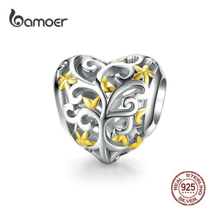 bamoer Tree of Life Heart-shape Charm Compatible European Bracelet Female Family Tree Beads for Women Jewelry Making SCC1249