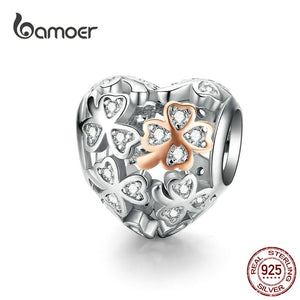 bamoer Lucky Clover Heart Shape Charm for Women Luxury Brand Bracelet 3mm Rose Gold Color 925 Sterling Silver Jewelry SCC1248