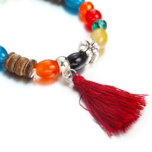 4pcs/set Tassels Beads Bracelets For Women Jewelry Red Charm Bracelets Bangles Set Boho Vintage Bracelet Female Men Bracelet Ban