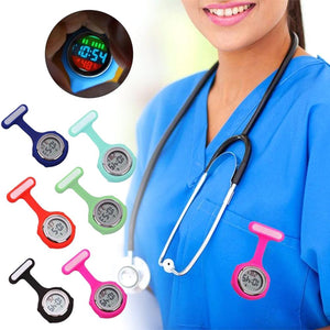 Nurse Pockets Watch Women's Round Digital Display Dial Clip Fob Brooch Pin Hang Electric Silicone Watch New Fob Watches 1Pc