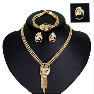 4pcs Jewelry Set For Women African Beads Jewelry Set Wedding Twist Choker Necklace Bridal Dubai Gold Color Jewellery Sets