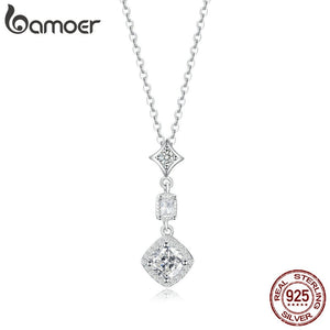 bamoer Geometric Silver Wedding Necklace for Women Sterling Silver 925 Clear CZ Statement Engagement Jewelry Gifts BSN074