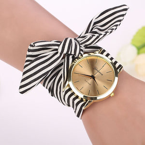 Fashion Women Female Quartz Watch Stripe Floral Fabric Quartz Dial Watches  Causal Bracelet Wristwatch Thanksgiving  Gift