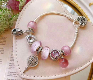 high quality 1:1 100% 925 pink sterling enamel bracelet bills free shipping anklet