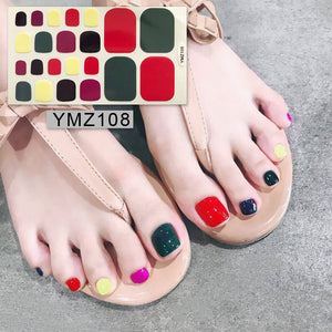 1 Sheet Toe Nail Sticker Fresh Style Pure Color Polish Wraps Full Cover Foot Decorations Toe Nail Art Supplies for Kids Ladies