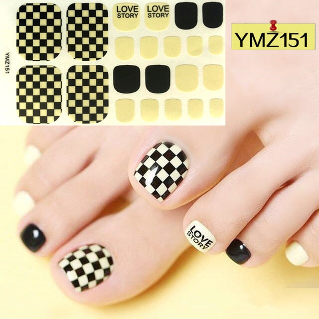 22tips/sheet Toe Nail Stickers Smile Pattern Summer Style Polish Toe Nail Wraps Waterproof Manicure Kids Feet Decorations