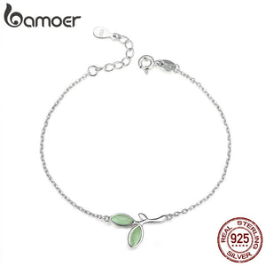 BAMOER 925 Sterling Silver Hope Green Tree Leaves Buds Enamel Women Chain Bracelets for Women Sterling Silver Jewelry SCB112