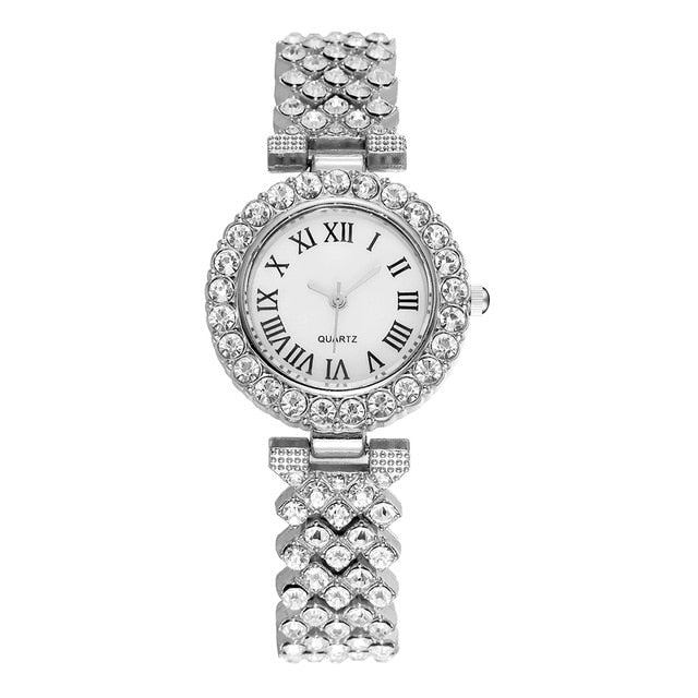 Vansvar Brand Women Rhinestone Watches Casual Luxury Ladies Bracelet Diamond Wristwatches Relogio Feminino Gift Clock