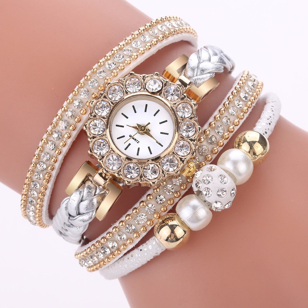 Fashion  Women Female Quartz Watch Luxury  Vintage Weave Wrap Watches Ladies Bracelet Dress Watch Wrist Gift